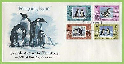 Br. Antarctic Territory 1979 Penguin set on First Day Cover, Halley Bay