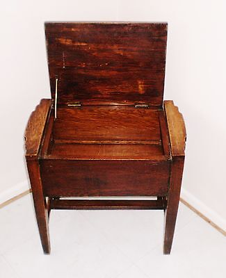 """Edwardian Solid Oak Sewing Box Seat Stool."""" Local Courier Available """""""