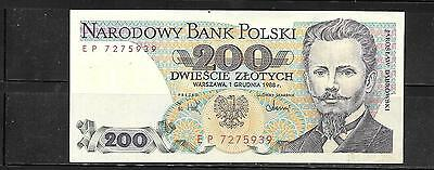 POLAND #144c 1988 200 ZLOTYCH VF CIRC BANKNOTE PAPER MONEY CURRENCY BILL NOTE