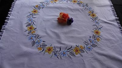 Vintage Hand Embroidered TABLECLOTH ~ lovely cross stitch with white lace edge