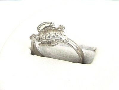 Wyland Signed Sterling Silver Turtle Ring - Size 6