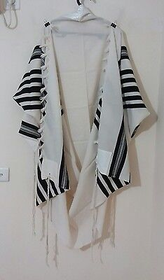 "Used Kosher Tallis Prayer Shawl 100% Wool Size 60 68""x58"" 172X148 Cm #1112"