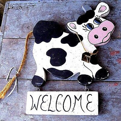 Vintage Distressed Paint Finish Moo Cow Welcome Sign Home & Garden Wall Plaque