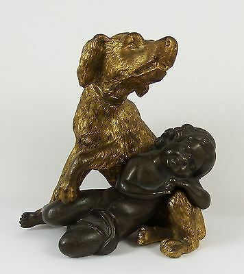 19th Century French Gilt Bronze Dog Guarding Sleeping Baby Sculpture