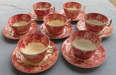7 Wood & Sons Pink Transferware English Scenery Demitasse Cup and Saucer Sets
