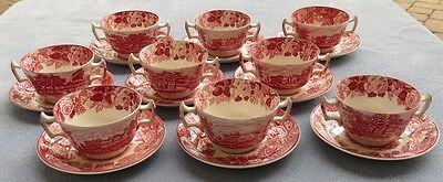 9 Wood & Sons Pink Transferware English Scenery Bouillon Bowls w Liner Plates