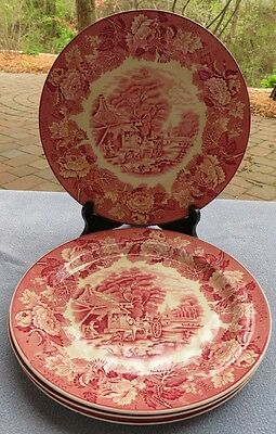 FOUR Wood & Sons Pink Transferware English Scenery Dinner Plates