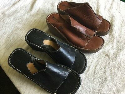 Women's Born Size 6 Leather Slip On Shoes Brown Black