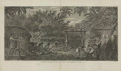 c1790   Cook's 3rd Voyage,  French ed. 'Sacrifice in a Tahitian Morai'