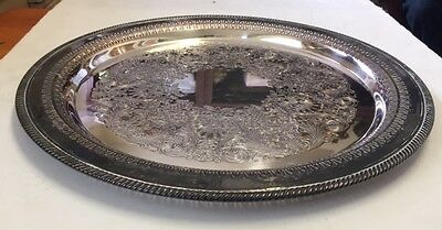 Vintage Silver Plate Round Ornate Floral Tray Serving Platter WM Rogers #172
