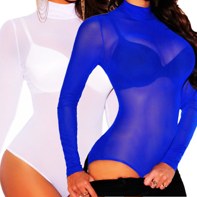 Women Bodysuit Bodycon Jumpsuit Romper Leotard Tops Blouse Playsuit Long Sleeve