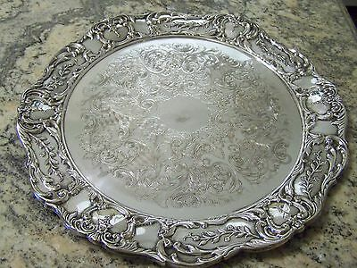 Victorian Sheffield Style Large Round Silver Salver Rococo Details Chased Tray