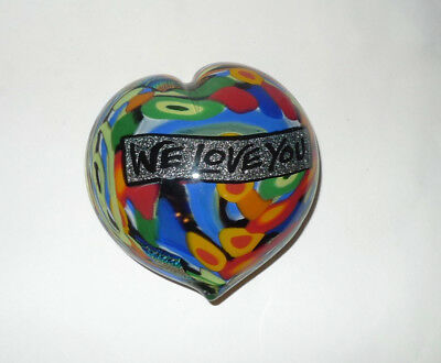 Colorful Tutti Fruitt/Psychedelic Art Glass Paperweight Heart