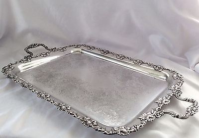 "Fabulous 31"" Antique Victorian Silver On Copper Butler Serving Tray Approx 5 Kg"