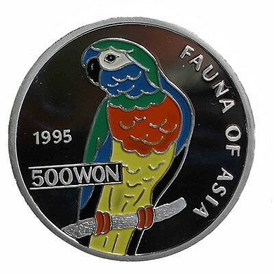 500 Won Korea Papagei Farbe Color 999er Silber 31gr. proof 1995