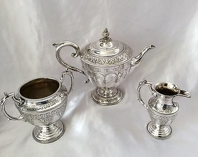 Fabulous Antique Victorian AESTHETIC Repousse Silver Plated Tea Set C.1860