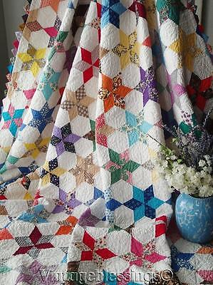 Stunning! VINTAGE 1930-40s Touching Stars QUILT Sawtooth Edge 81x73""