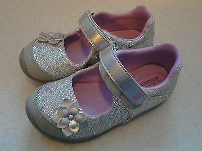 Little Girls STRIDE RITE SURPRIZE Metallic Silver Sparkle Shoes Size 8 Mary Jane