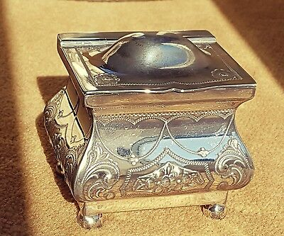 """Good Victorian Bombe Tea Caddy Box Silver Plated BM by """"WB&Co.S"""" on 4 Ball Feet"""