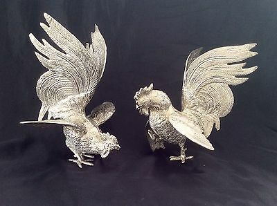 "Huge Pair Of 10"" Antique French Silver Plated Fighting Cockerels C.1880  2.6 Kg"
