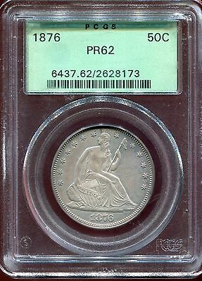 1876 50c Seated Liberty Half Dollar PROOF - PCGS PR62 - Old Green Holder
