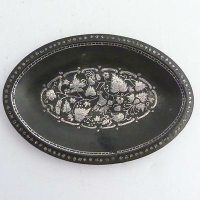 Early 19Th Centuiry Indian Bidri Ware Small Oval Tray
