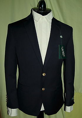 NWT RALPH LAUREN mens 2 gold button front navy wool blazer US size 40R POLO