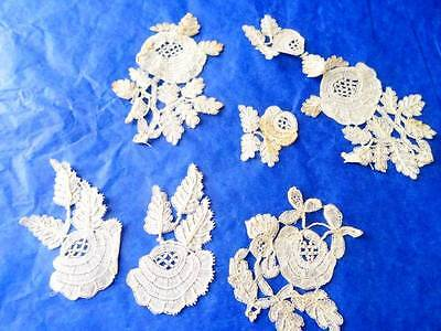 A Beautiful Collection Of hand Made Antique Honiton Lace Motifs C.1880