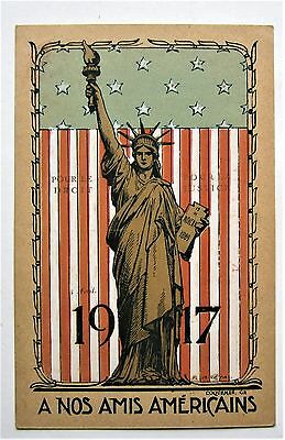 Poster-style 1917 WWI Statue of Liberty Flag AMERICAN FRIENDS Military Postcard