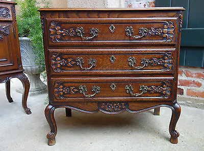 Small Antique French Carved Oak Chest of Drawers Louis XV End Table Nightstand