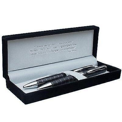 Classic Pen & Pencil Set - Black w/Silver Inlays & Etched Cross New