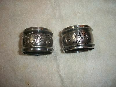 Two Antique Silverplate Napkin Rings - NR