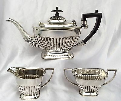 Stunning Sheffield Art Deco Silver Plated 3Pc Pedestal Tea Set EH Parkin C.1920