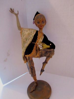 """Vintage Dabs Faux Fake Wood Pixie Figurine. Plastic Doll. Dancing. 18"""" t. Gold"""