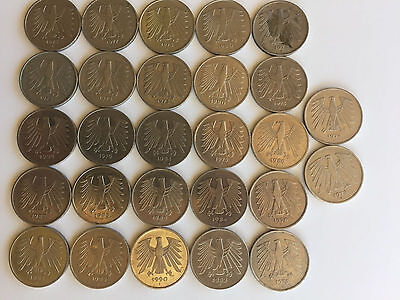 5 Marks Coins from West Germany (Lot of 27) 135 Marks copper-nickel