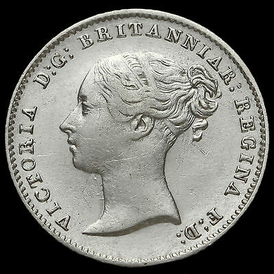 1841 Queen Victoria Young Head Silver Fourpence / Groat, Rare