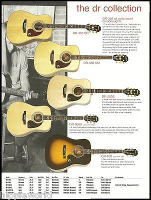 Epiphone DR Acoustic Dreadnaught guitar ad 8 x 11 advertisement with specs