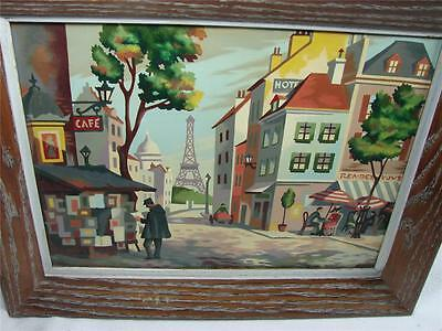 Mid Century Modern Paris Art Scene Painting-Oil On Canvas-Paint by Number  Style