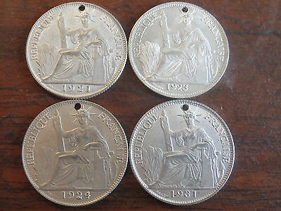 Lot of 4 French Indo-China Silver 20 Cent holed 1921 1923 1924 1931