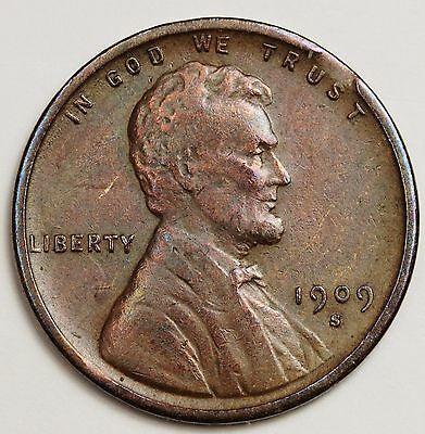 1909-SVDB Lincoln Head Cent Error Clipped Planchet Wood Grain.  About XF 108759