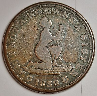 """1838 Anti Slavery Token.  """"Am I not a Woman and a Sister"""".  108667"""