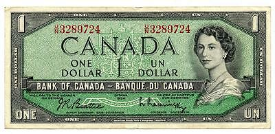 Rare 1954 $1 Note Bank of Canada Devil's Face U/N Prefix