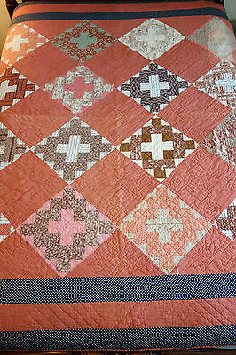 "Antique Handmade Center Cross Pattern Patchwork quilt Quilted 79"" x 77"""