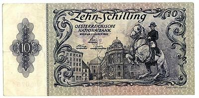 Austria 10 Shilling Bank Note 1950 P-128 VF