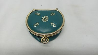 Vintage Teal Green Leather Gold Flowers Collapsable Coin Purse Made in SPAIN