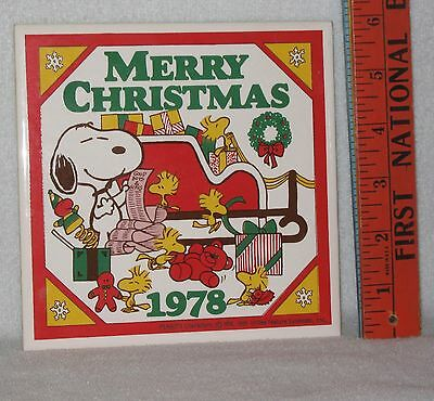 Rare Vintage Snoopy & Woodstock Decorative Christmas Tile--1978