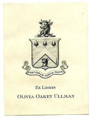 Olivia Oakley Ullman 1800s Antique Bookplate Engraving Etching Bull Acorns