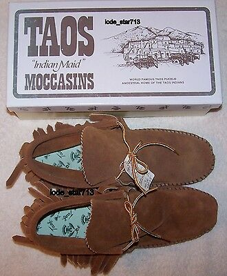 Vintage Taos Fringe Leather Moccasins  sz 7.5 NOS Brown Fringed With Laces NIB