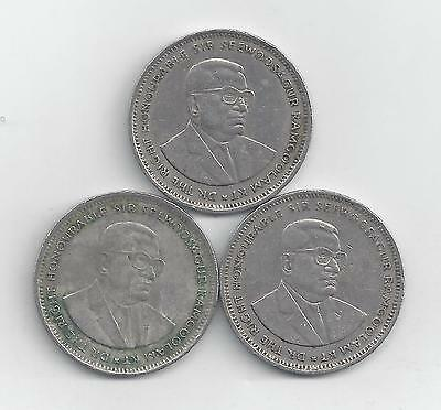 3 - 1 RUPEE COINS from MAURITIUS (1990, 1991 & 1997)
