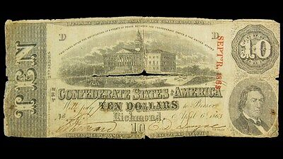 1863 Confederate States $10 Dollar Note T-59 CSA Civil War Currency